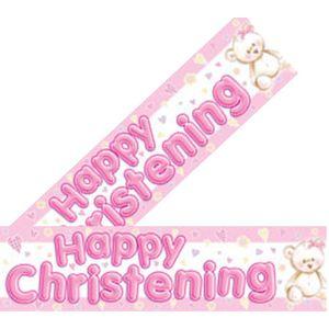 Happy Christening Banner (Pink)