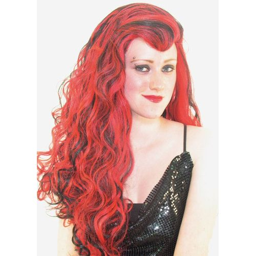 Fancy Dress And Halloween Wig Long Vamp Red/Black