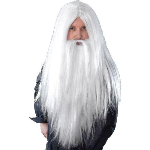 Fancy Dress And Halloween Wizard Wig & Beard Set  Adult White