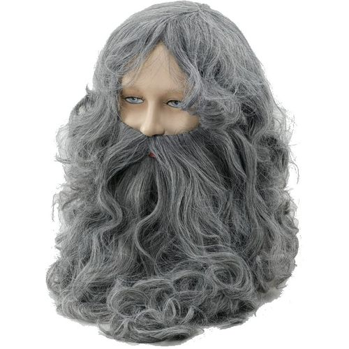 Fancy Dress And Halloween Wizard Wig & Beard Set Grey Adult