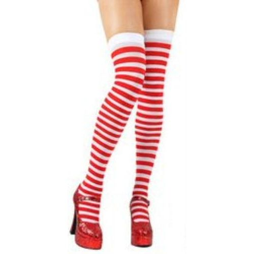 fancy dress and halloween costume accessory red and white striped thigh high socks