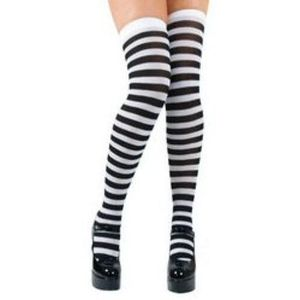 Thigh High Socks Stockings (Black & White Striped)