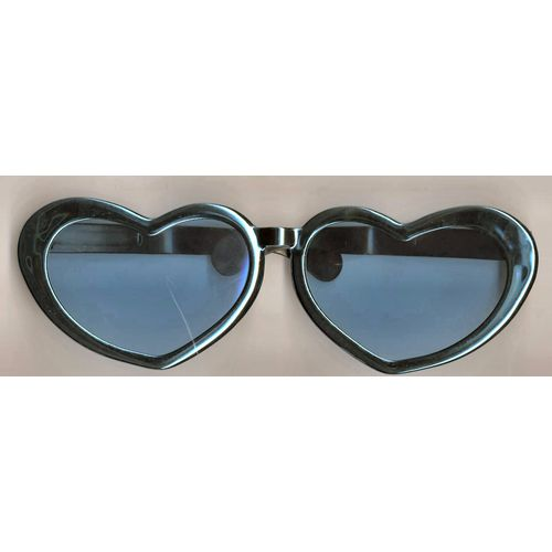 Jumbo Heart Shaped Glasses With Metallic Blue Frame Fancy Dress Accessory