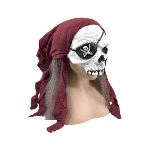 Pirate Skeleton Half Face Mask With Bandana & Hair Halloween Fancy Dress Costume Accessory