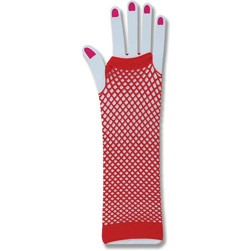 red fishnet  fingerless gloves fancy dress and halloween costume accessory