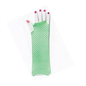Fingerless Fishnet Gloves (Lime Green)
