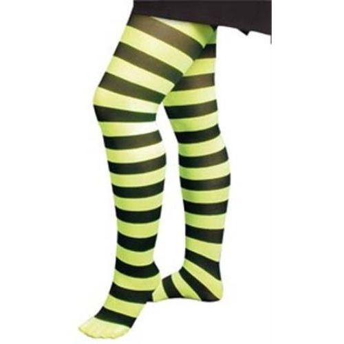 fancy dress and halloween costume accessory lime green and black striped microfibre tights
