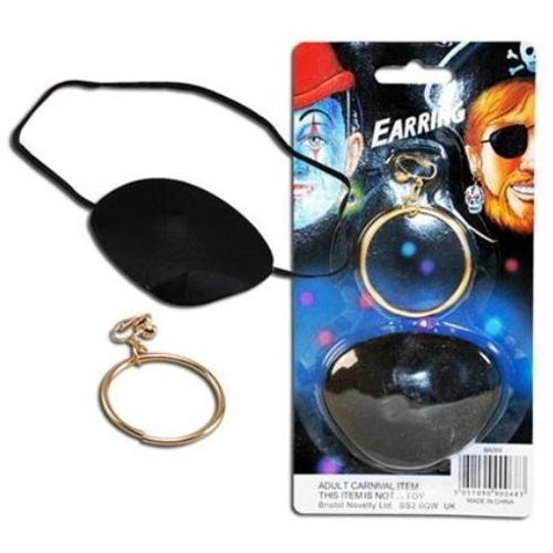 Pirate Eye Patch & Earring Fancy Dress Accessory