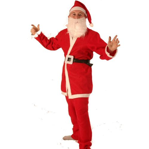 Fancy Dress Christmas Budget Santa Outfit  Medium-Jacket Trousers Hat Belt &