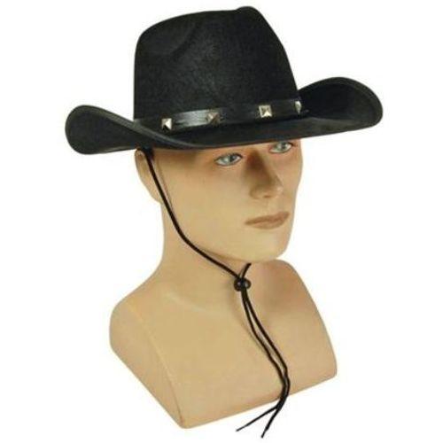 Black Felt Cowboy Hat With Studded Band Western Fancy Dress