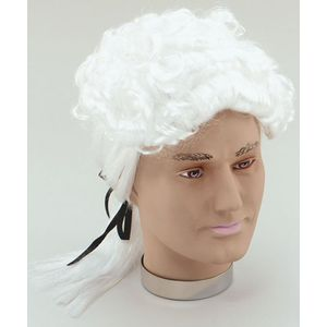 Court Wig With Black Ribbon (White)