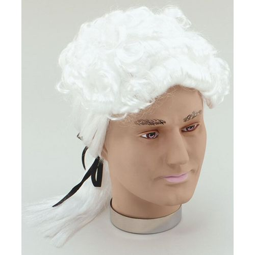 White Court Fancy Dress Wig With Black Ribbon