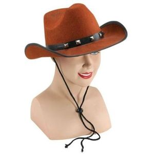 Felt Cowboy Hat With Studded Band (Brown)