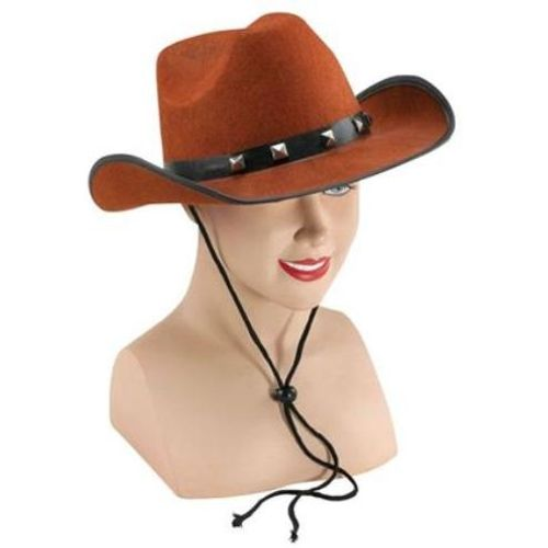 Brown Felt Cowboy Hat With Studded Band Western Fancy Dress