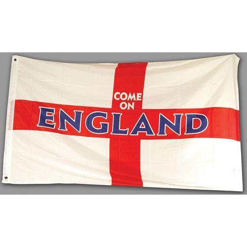 Come On England St George Cross Cloth Flag 5` x 3`