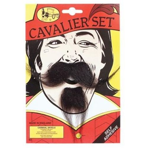 Black Cavalier Musketeer Moustache Tash & Beard Set Fancy Dress Adult