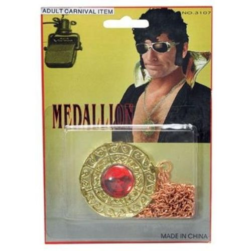 Gold Disc Medallion With Red Stone Fancy Dress Halloween Jewellery Accessory