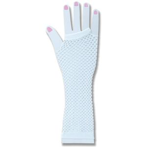 Fingerless Fishnet Gloves (White)
