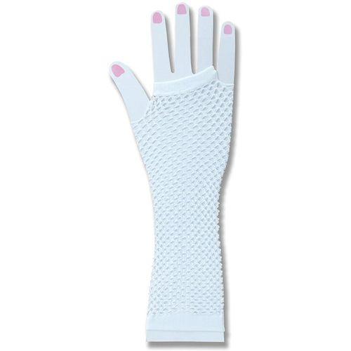 White Fishnet Fingerless Gloves Fancy Dress Costume Accessory