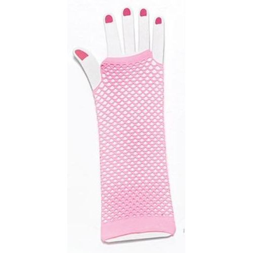 pink fingerless fishnet  gloves fancy dress accessory