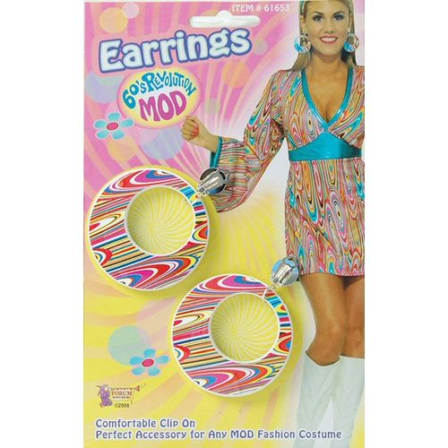 Swirl Sixties Style Clip On Earrings Fancy Dress Accessory