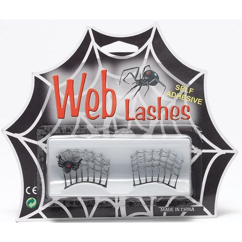 Fancy Dress Adult Silver Spider Web Eyelashes Self Adhesive