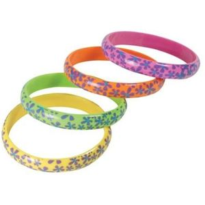 Neon Flower Printed Bangles Set of 4