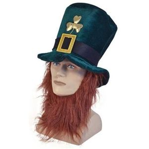 Irish Ireland Leprechaun Hat with Attached Beard