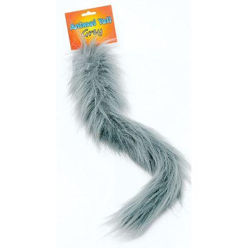grey fur pin on animal tail fancy dress costume accessory