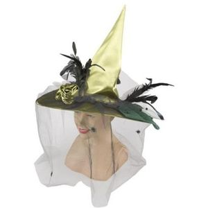 Witch Hat With Veil (Green)