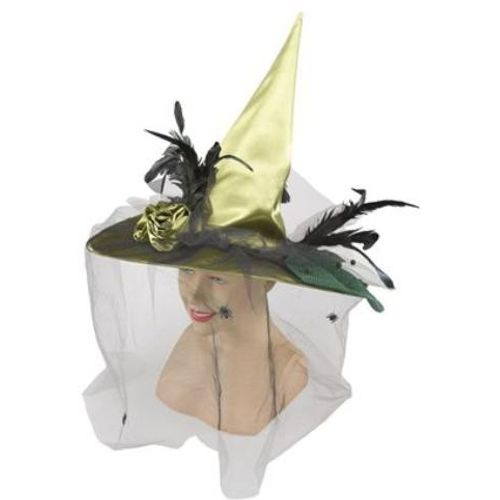 Fancy Dress Adult Green Witch Halloween Hat With Veil