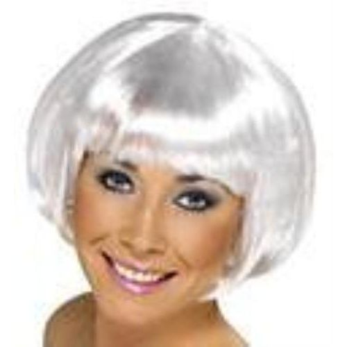 Fancy Dress Short Bob Babe Wig  White