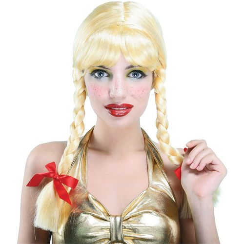 Plaited Blonde Pigtail Wig Fancy Dress Costume Accessory