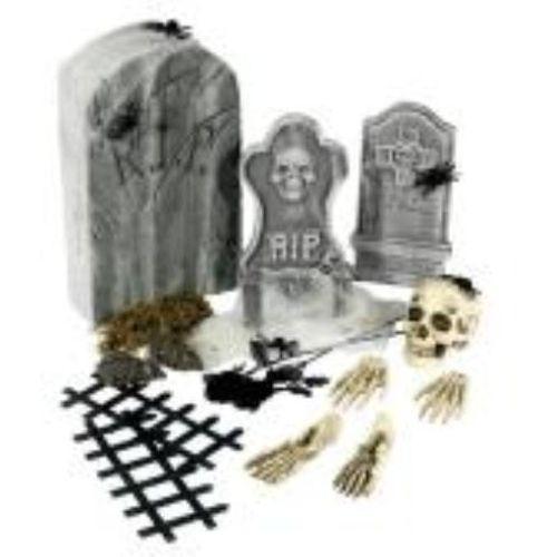 Tombstone Graveyard 25 Piece Halloween Room Decoration Accessory Kit