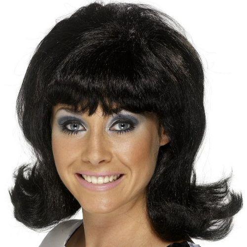 Sixties Flick Up Style Black Fancy Dress Wig