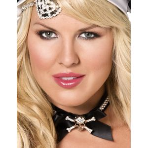 Pirate Choker With Diamante Skull & Bow (Black & Silver