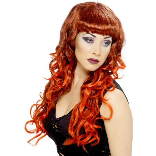 Long Curly Red & Black Blend Siren Wig Fancy Dress and Halloween