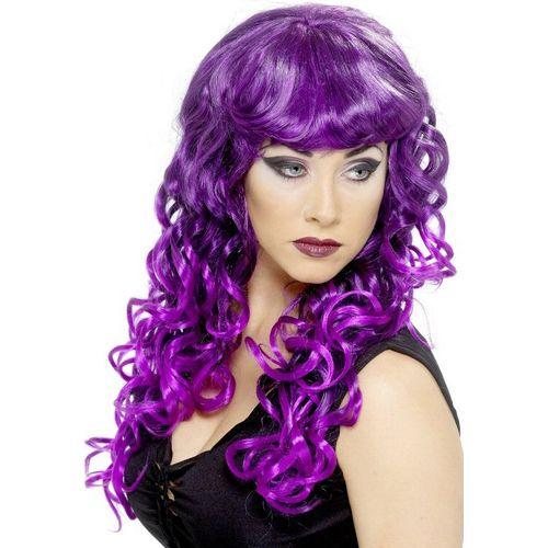 fancy dress and halloween wig Long Curly Siren Purple & Black