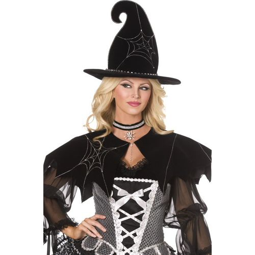 Fancy Dress And Halloween Spider Web Witch Cape