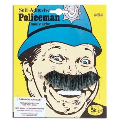 Black Laughing Policeman Moustache Tash Fancy Dress Mens Adult