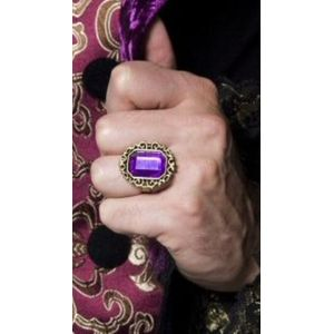 Gothic Style Jewelled Ring With Purple Gem