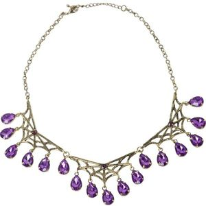 Gothic Style Bronze Spiderweb Necklace With Purple Gems