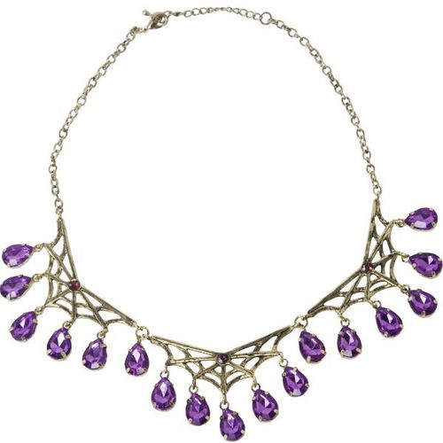 fancy dress and halloween costume accessory  Gothic Style Bronze Spiderweb Necklace With Purple Gems