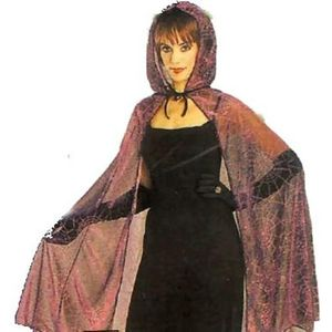 Metallic Mesh Hooded Cape Web Print (Black/Purple)