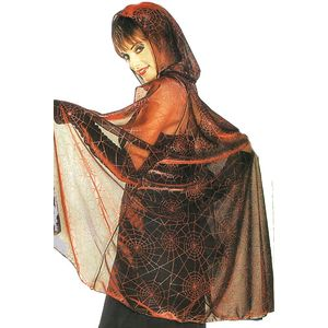 Metallic Mesh Hooded Cape Web Print (Black/Red)