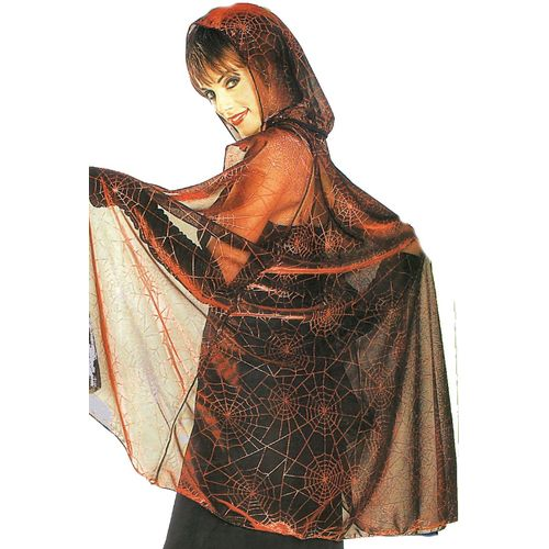 fancy dress and halloween costume accessory Metallic Mesh Hooded Cape Web Print (Black/Red)