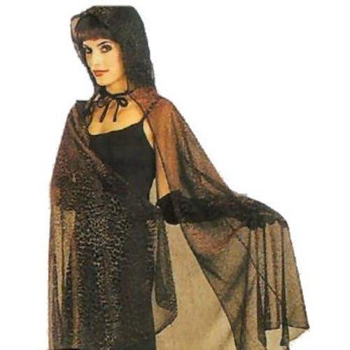 fancy dress and halloween costume accessory Metallic Mesh Hooded Cape Giraffe Print (Black/Red)