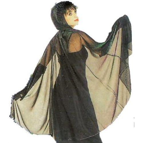fancy dress and halloween costume accessory Metallic Mesh Hooded Cape Zebra Print (Purple/Green))