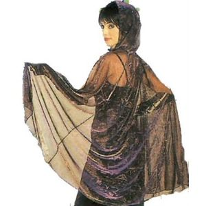 Metallic Mesh Hooded Cape Geometric Print (Gold/Purple)