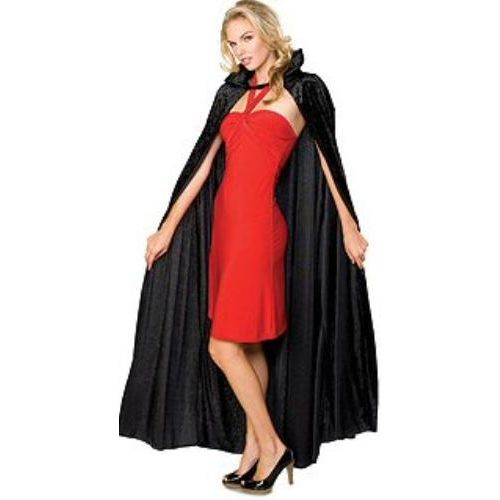 Black Long Crushed Velvet Cape Halloween and Fancy Dress Costume Accessory
